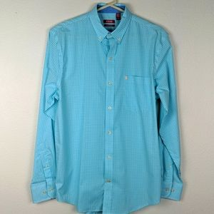 Izod teal and white checkered shirt size s/p